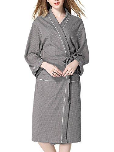 (イモクリコ) Imocrico お風呂上りにサッと羽織れる バスローブ 男女兼用 ガウン ワッフル生地 さっぱり ホテル スパ サウナ (L, グレー)