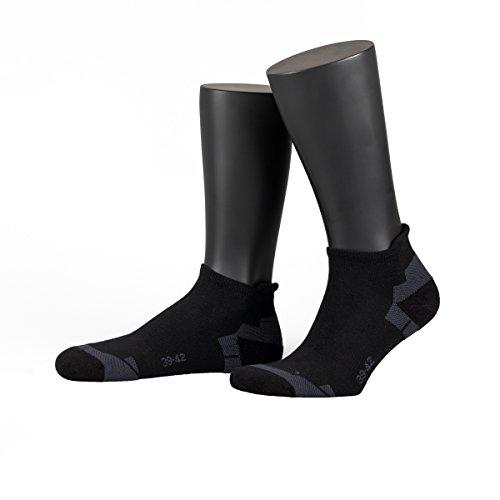 NORDPOL Sneaker-Socke für Damen & Herren, Coolmax, Made in Germany (43-46, schwarz)