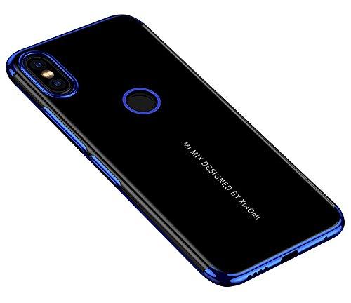 BLUGUL Xiaomi Mi Mix 2S Hülle, Electroplating Coloring, Crystal Clear Transparent Schutzhülle, Ultra-Dünn Hülle, Weiche TPU Silikon Cover für Xiaomi Mix 2S, Blau