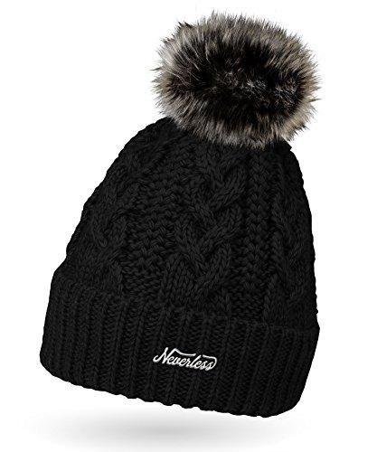 Neverless Damen Strick-Mütze gefüttert mit Fell-Bommel, Kunstfell, Winter-Mütze, Bommelmütze, schwarz Unisize