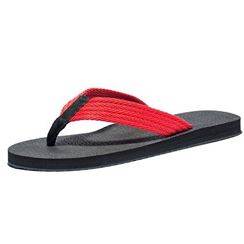 Duckmole Flip Flops Men, The Best Summer Beach Big Man Slippers, Mens Large Size Wide Platform Thong Sandals (48M EU / 14 D(M) US, Black+Red)