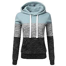 Bestwo Women's Long Sleeve Hoodie Sweatshirt Patchwork Drawstring Pullover Tops with Kanga Pocket