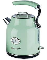 Korona 20665 elektrisk vattenkokare | Mint | 1,7 liter | 2.200 Watt | kalkfilter | ångstopp | torrkörningsskydd | varmvatten | te och kaffe | bryggning grönt