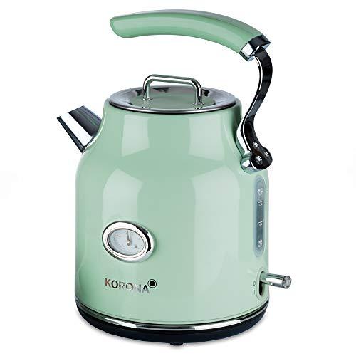 Korona 20665 elektrischer Wasserkocher | Mint | 1,7 Liter | 2.200 Watt | Kalkfilter | Dampf-Stopp | Trockengeh-Schutz | heißes Wasser | Tee und Kaffee | Aufbrühen grün