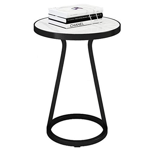 GYX-Coffee Tables Round Side Table, White Marble Top/Black Wrought Iron Frame, 2 Sizes