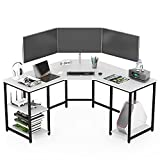 Earthsign L Shaped Home Office Desk with Four Shelves Storage, Spacious Corner Computer Desk for Working from Home, Workstation, Gaming, 56.96 Inch, with Wood Top (White + Black Frame)