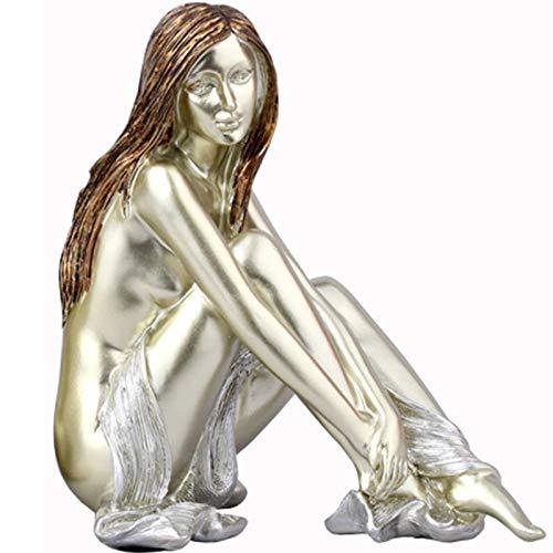Ybzx Estatuas de Mujer para decoración del hogar, Escultura de Resina, Arte Abstracto, Figuras de Belleza, decoración de Mesa para decoración de estantería de Oficina en casa, A