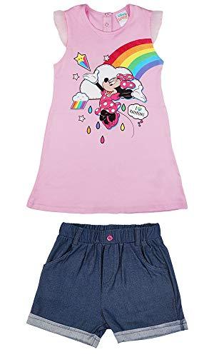 Minnie Mouse Baby Mädchen Sommer 2 Teiler Set mit kurzer Jeans-Hose und Top T-Shirt Bluse Rosa mit Tüll-Kurze Ärmel Gr. 86 92 98 104 110 116 Disney Baumwoll Größe 92