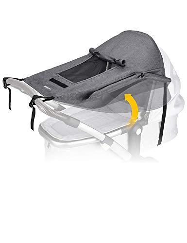 Universal Kinderwagen Sonnensegel mit UV Schutz 50+ und Wasserdicht,Sichtfenster und extra breite Schattenflügel, Verstellbar Sonnenschutz für Kinderwagen Buggy (Grau)