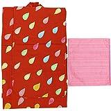 浴衣 ガールズ ツモリチサト 兵児帯 2点セット 赤色 しずく柄 N3759 (120cm (3759c))