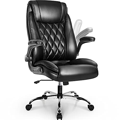 NEO CHAIR Office Chair Computer High Back Adjustable Flip-up Armrests Ergonomic Desk Chair Executive Diamond-Stitched PU Leather Swivel Task Chair with Armrests Lumbar Support (Black)