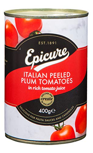 Epicure Italian Peeled Plum Tomatoes in Rich Tomato Juice 400 g (Pack of 12)