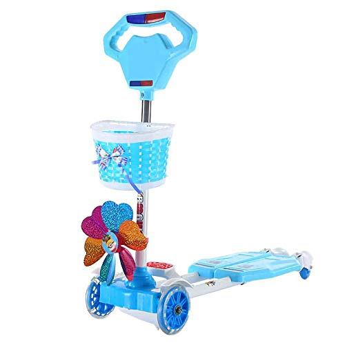 CYGJ Acciaio al Carbonio Monopattino Big Wheels a 4 Ruote Lampeggianti,Blu Pieghevole Monopattino per Trick per Ragazzi e Ragazze di età Compresa tra 1 e 15 Anni