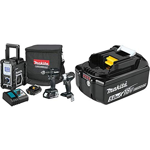 Makita CX301RB 18-Volt LXT Lithium-Ion Sub-Compact Brushless Cordless 3-Piece Combo Kit (Driver-Drill/Impact Driver/Radio) 2.0Ah with BL1850B 18-Volt 5.0Ah LXT Lithium-Ion Battery