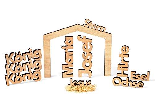 Dekobox Moderne Weihnachtskrippe 11 Teilig - Holz Ceiba Natur - puristisch, rustikal, exklusiv - Made in Tirol (L)