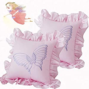 Brandream Baby Ruffle Square Throw Pillow Covers Solid Embroidery Butterfly Decorative Cotton Cushion Cases Set Cute Sweet Clocking Pillowcases for Couch Sofa Bench Bedroom Crib Nursery Decor