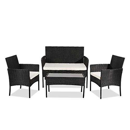 YUMUO Outdoor Patio Furniture Set of 4,Front Porch Rattan Chair Wicker Sofa Garden Conversation Bistro Sets for Yard,Pool Or Backyard
