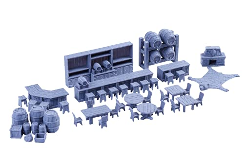 Tavern Bar Furniture Set DND Terrain 28mm for Dungeons and Dragons  D&D  Pathfinder  Warhammer 40k  RPG  Miniatures  Age of Sigmar  Tabletop  D and D  Dungeons and Dragons Gifts