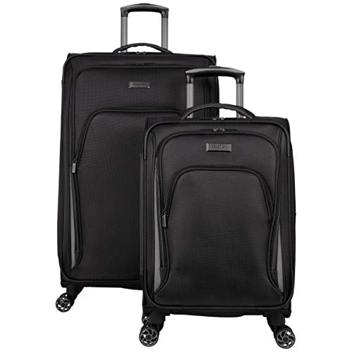 "Kenneth Cole Reaction Cloud City 2-Piece 20"" Carry-On & 28"" Check Size Lightweight Softside Expandable 8-Wheel Spinner Travel Luggage Set, Black"