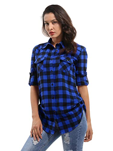 Aeslech damska zwijana bluzka z długim rękawem w kratę flanelowa koszula guzikowa dół bluzka