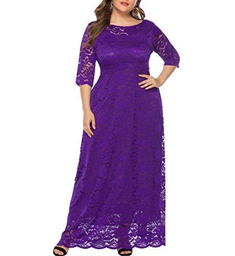 Eternatastic Womens Floral Lace 2/3 Sleeves Maxi Dress Evening Party Long Dress XXL Purple (Apparel)