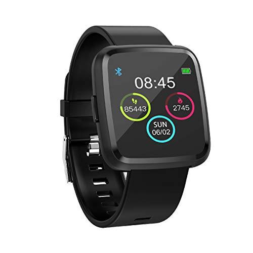 novasmart - Reloj inteligente runR III con correa inteligente y pantalla en color, con registro de frecuencia cardíaca y presión arterial, contador de calorías y pasos, y control del sueño, negro