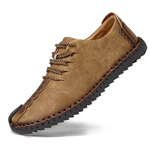 Zapatos de cuero casual de los hombres Zapatos Planos con Cordones hombre Oxford vestido mocasines zapatos de negocios hechos a mano mocasines de conducción de zapatos Caqui 39EU