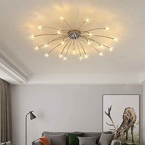 Gypsophila - Lámpara de techo de diseño moderno con estrella, luz blanca cálida, lámpara de techo para salón, habitación de los niños, niñas, jóvenes, habitaciones, decoración para hoteles, cafeterías