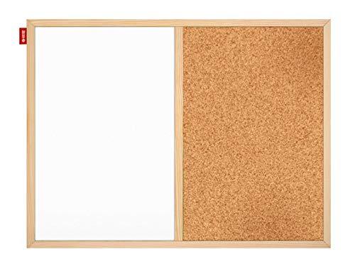 Pizarra magnética 2 en 1 y tablón de anuncios Duo de acero lacado y corcho, con marco de madera de pino, accesorios de montaje incluidos, montaje horizontal o vertical.