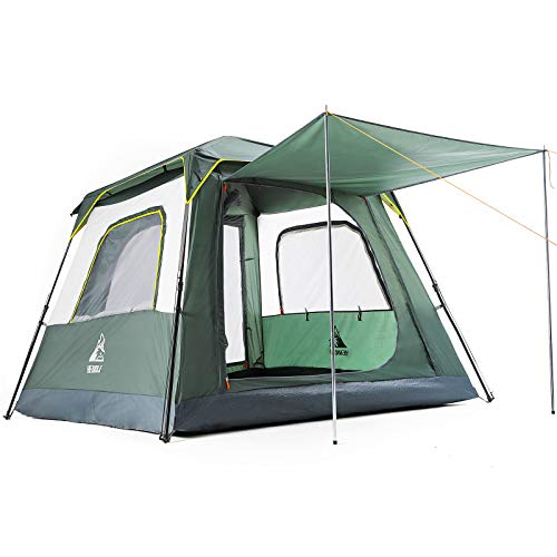 HEWOLF テント 2人~4人用 ワンタッチテント ポップアップ 設営簡単 通気 遮光 防風 防水 折りたたみ 軽量 防災 キャンプ用品 アウトドア 花見 運動会 グリーン 2m*2m 収納袋付き