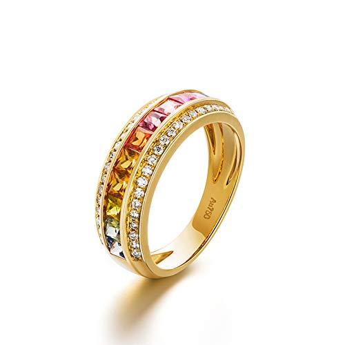 AMDXD Anillo de Boda de Oro 18 Kilate, Anillo de Compromiso 1.339ct Vistoso Zafiro 2.5x2.5mmx11Pcs con 0.198ct Diamante, Oro Amarillo, Tamaño 18,5 (Perímetro: 58mm)