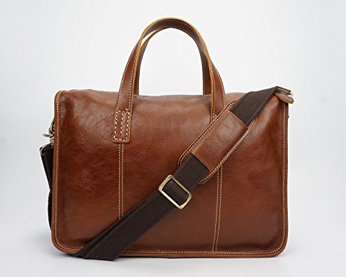 HUANGLINGLING Bag Mens Leather Tote Briefcase Leather Casual Laptop Bag Retro Messenger Bag commuter bags Color Brown Size M