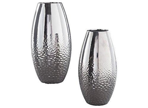 Ashley Furniture Signature Design - Dinesh Vases - Set of 2 - Glam - Silver Finish