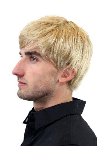 Courte perruque pour homme, avec raie de côté, de couleur blond GFW993-25