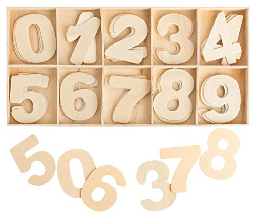 Kleenes Traumhandel Zahlenkasten Holz Natur - 4 cm hoch - je 4 hölzerne Zahlen - 40 Teile