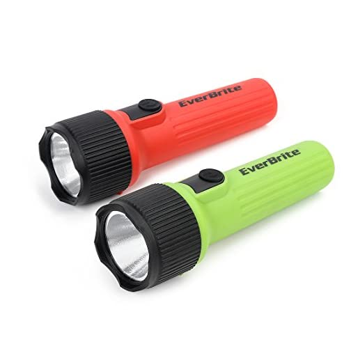 EverBrite LED Flashlight 2-Pack, Plastic Handheld Torch Light, Red/Green Hurricane Supplies, 2 D Battery Included 3