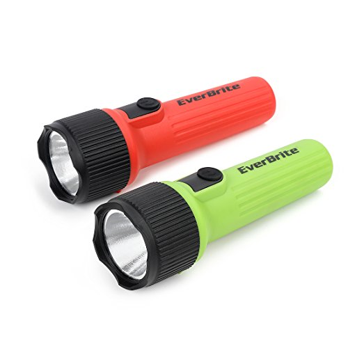 EverBrite LED Flashlight 2-Pack, Plastic Handheld Torch Light, Red/Green Hurricane Supplies, 2 D Battery Included