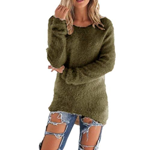 Kabxryaclo - Suéter de punto para mujer, manga larga, cuello redondo