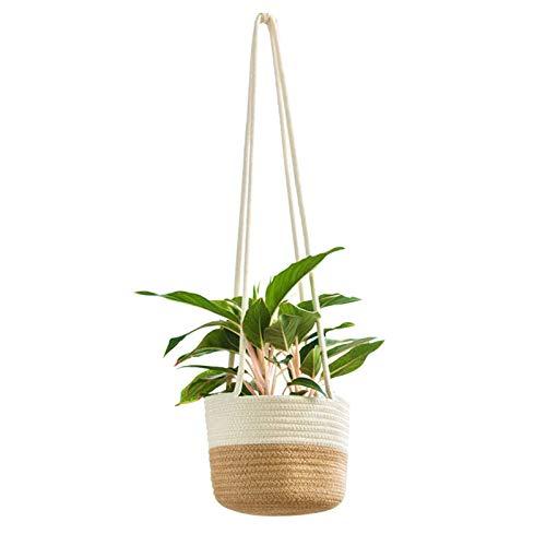 JHVD Macrame Colgador de Plantas Interior al Aire Libre Colgante plantador Cesta de algodón Cuerda (Color : C)