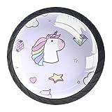 Pomos y Tiradores Infantiles Diamante Unicornio Tiradores para muebles cristal Pomo para muebles Tirador de armario 4 piezas para Habitación de Infantil Decoración 3.5×2.8CM