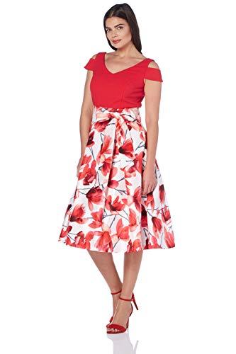 Roman Originals Mujer Floral Impresión Frío Hombro Midi Vestido - Señoras Ocasión Especial de la Boda Invitada Princesa Flor Impreso Flared Midi Vestidos