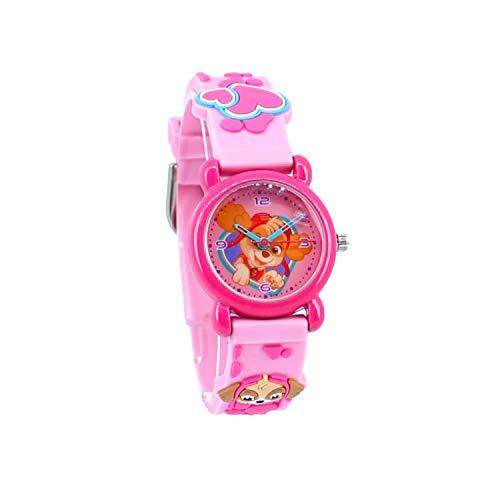 Reloj analógico para niña, con manecillas de la Patrulla Canina. Rosa