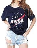 YNALIY NASA Tee Shirt Femme Manche Courte Chemise Col Rond Haut Chic