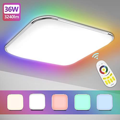 Hengda LED Deckenleuchte, 36W RGB Farbwechsel Deckenlampe Dimmbar mit Fernbedienung, Lichtfarbe Einstellbar, Lampe für Bad Schlafzimmer Wohnzimmer Kinderzimmer Küche, IP44
