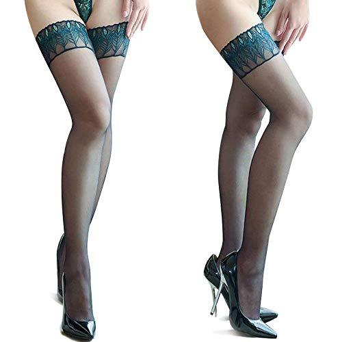 VERFER Medias body touch 15D de mujer, diseño nueva colección de 2020 para tus piernas. Linea pavo real (Azul)