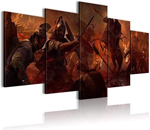 5 pinturas consecutivas Heal the mood Total War Attila wallpaper 5 pintura conjunta Lienzo de impresión 3D HD (150x80cm Enmarcado)