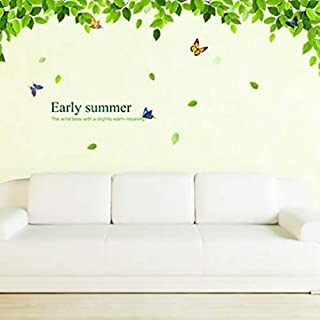 Home Wall Decor Removable 3d Diy Green Leaf Large Size Vinyl Decal Am018