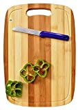 Yellow Weaves Natural Bamboo Wood Cutting Board/Chopping Board with Juice Groove for Kitchen (24x34 cm)