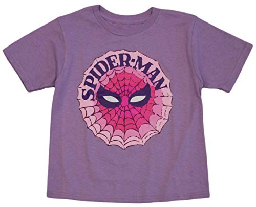 Marvel Little Girls' Spiderman Vintage Mask Tee, Lavender (5T)