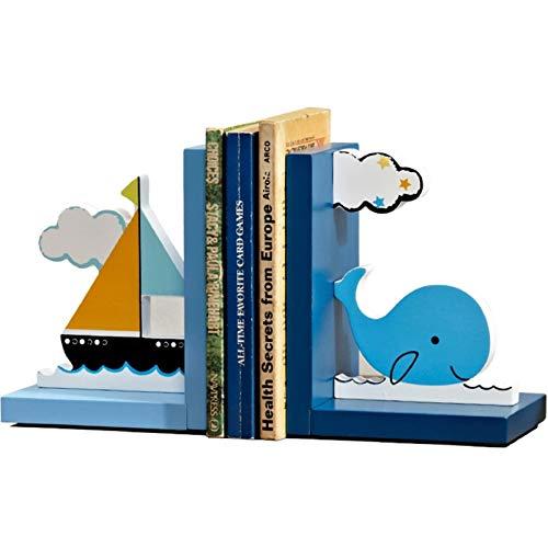FEANG Sujetalibros Bookends Linda Ballena Azul Libro de Barco Termina Libro Primario Escuela Estudiante Tapones Libro Organice Decoración Cumpleaños Niños Regalo Soporte Libros (Color : Blue)